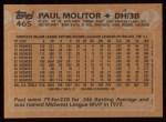 1988 Topps #465  Paul Molitor  Back Thumbnail