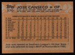 1988 Topps #370  Jose Canseco  Back Thumbnail