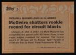 1988 Topps #3 COR Record Breaker  -  Mark McGwire Back Thumbnail
