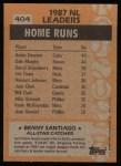 1988 Topps #404  All-Star  -  Benny Santiago Back Thumbnail