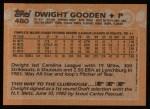 1988 Topps #480   Dwight Gooden Back Thumbnail
