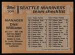 1988 Topps #104  Dick Williams  Back Thumbnail