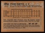 1988 Topps #317   Tom Nieto Back Thumbnail