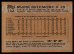 1988 Topps #162  Mark McLemore  Back Thumbnail