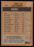 1988 Topps #389   -  Alan Trammell All-Star Back Thumbnail