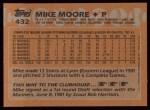 1988 Topps #432  Mike Moore  Back Thumbnail
