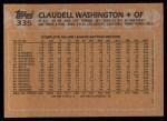 1988 Topps #335  Claudell Washington  Back Thumbnail
