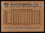 1988 Topps #320   Alan Trammell Back Thumbnail