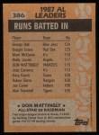 1988 Topps #386  All-Star  -  Don Mattingly Back Thumbnail
