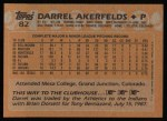 1988 Topps #82  Darrel Akerfelds  Back Thumbnail