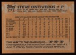 1988 Topps #272   Steve Ontiveros Back Thumbnail