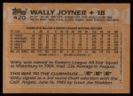 1988 Topps #420  Wally Joyner  Back Thumbnail