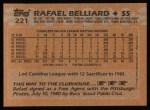 1988 Topps #221   Rafael Belliard Back Thumbnail