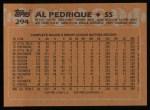 1988 Topps #294  Al Pedrique  Back Thumbnail