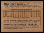 1988 Topps #176  Jeff Reed  Back Thumbnail
