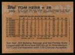1988 Topps #310   Tom Herr Back Thumbnail