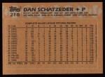 1988 Topps #218   Dan Schatzeder Back Thumbnail