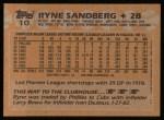 1988 Topps #10  Ryne Sandberg  Back Thumbnail