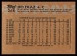 1988 Topps #265  Bo Diaz  Back Thumbnail