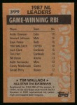 1988 Topps #399  All-Star  -  Tim Wallach Back Thumbnail