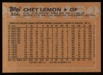 1988 Topps #366  Chet Lemon  Back Thumbnail
