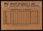 1988 Topps #217   Harry Spilman Back Thumbnail