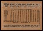 1988 Topps #416   Keith Moreland Back Thumbnail