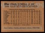 1988 Topps #204   Paul O'Neill Back Thumbnail