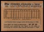 1988 Topps #85   Howard Johnson Back Thumbnail