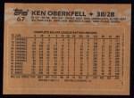 1988 Topps #67   Ken Oberkfell Back Thumbnail