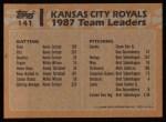 1988 Topps #141  Royals Team Leaders  -  George Brett / Bret Saberhagen Back Thumbnail