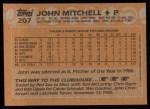 1988 Topps #207  John Mitchell  Back Thumbnail