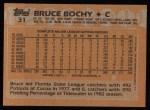 1988 Topps #31   Bruce Bochy Back Thumbnail