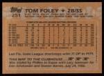 1988 Topps #251   Tom Foley Back Thumbnail