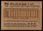 1988 Topps #160   Willie McGee Back Thumbnail