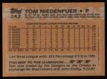 1988 Topps #242  Tom Niedenfuer  Back Thumbnail