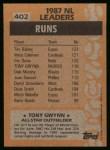 1988 Topps #402   -  Tony Gwynn All-Star Back Thumbnail