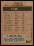 1988 Topps #402   -  Tony Gwynn All-Star Back Thumbnail