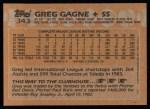 1988 Topps #343   Greg Gagne Back Thumbnail