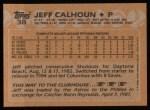 1988 Topps #38  Jeff Calhoun  Back Thumbnail