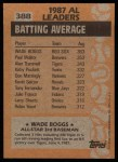 1988 Topps #388   -  Wade Boggs All-Star Back Thumbnail