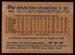 1988 Topps #481  Mariano Duncan  Back Thumbnail