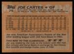 1988 Topps #75  Joe Carter  Back Thumbnail