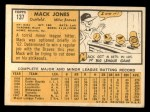1963 Topps #137   Mack Jones Back Thumbnail
