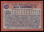 1991 Topps #278   Alex Fernandez Back Thumbnail