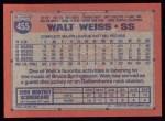 1991 Topps #455   Walt Weiss Back Thumbnail