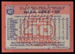 1991 Topps #421   Alex Cole Back Thumbnail