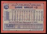 1991 Topps #178  Dave Valle  Back Thumbnail