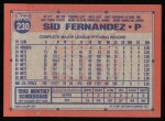1991 Topps #230  Sid Fernandez  Back Thumbnail