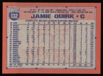 1991 Topps #132  Jamie Quirk  Back Thumbnail